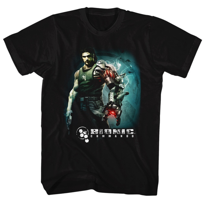 Bionic Commando Steam Arm Black Adult T-Shirt