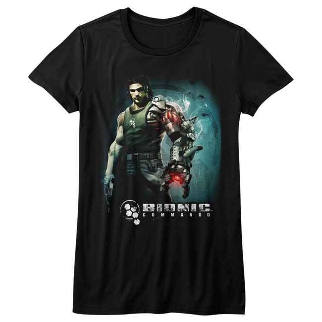 Bionic Commando Steam Arm Black Junior Women's T-Shirt
