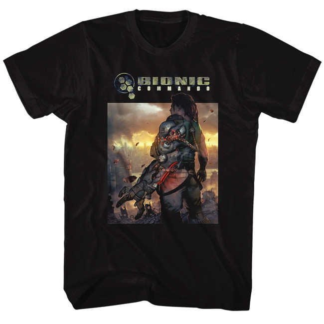 Bionic Commando The World Burn Black Adult T-Shirt