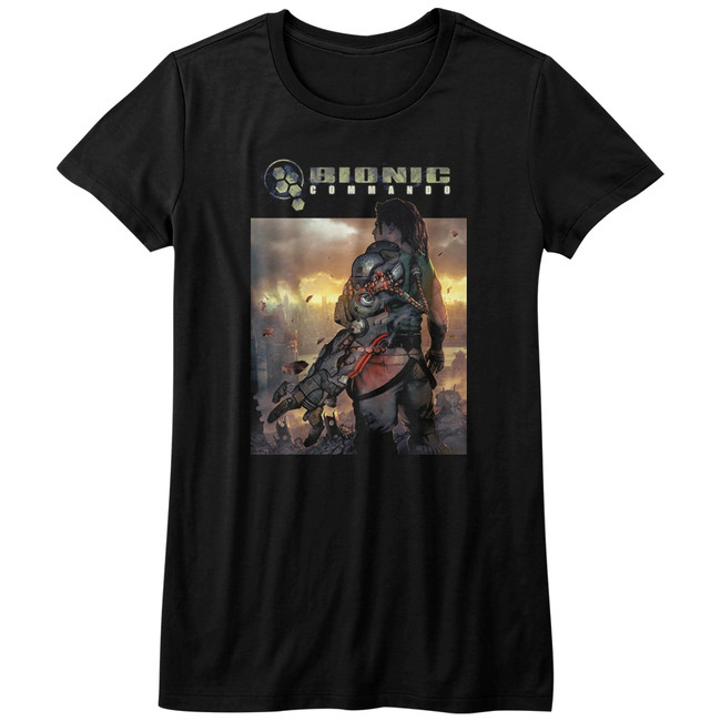 Bionic Commando The World Burn Black Junior Women's T-Shirt