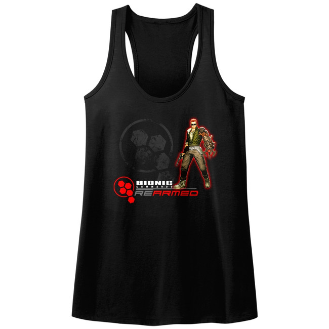 Bionic Commando Rearmed Black Junior Women's Racerback Tank Top T-Shirt