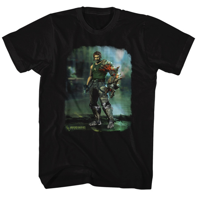 Bionic Commando Damaged Road Black Adult T-Shirt