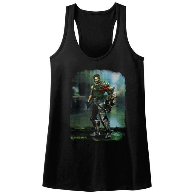 Bionic Commando Damaged Road Black Junior Women's Racerback Tank Top T-Shirt