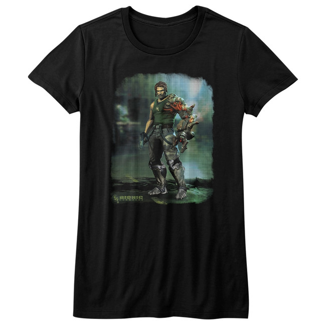 Bionic Commando Damaged Road Black Junior Women's T-Shirt
