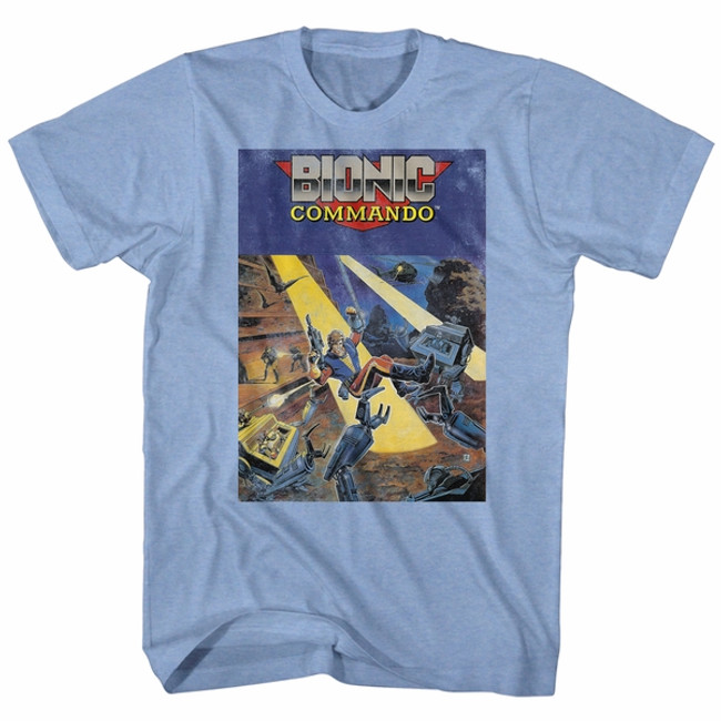Bionic Commando Cover Light Blue Heather Adult T-Shirt