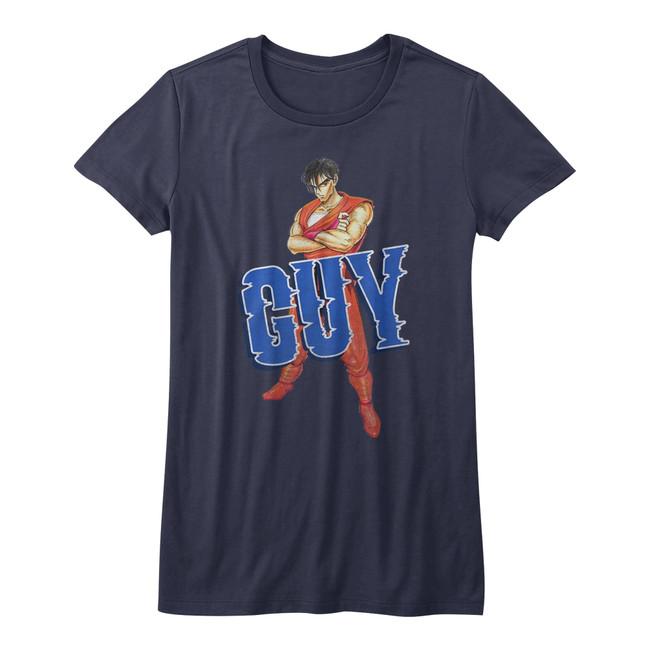 Final Fight Guy Navy Junior Women's T-Shirt