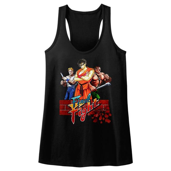 Final Fight Trio Black Junior Women's Racerback Tank Top T-Shirt