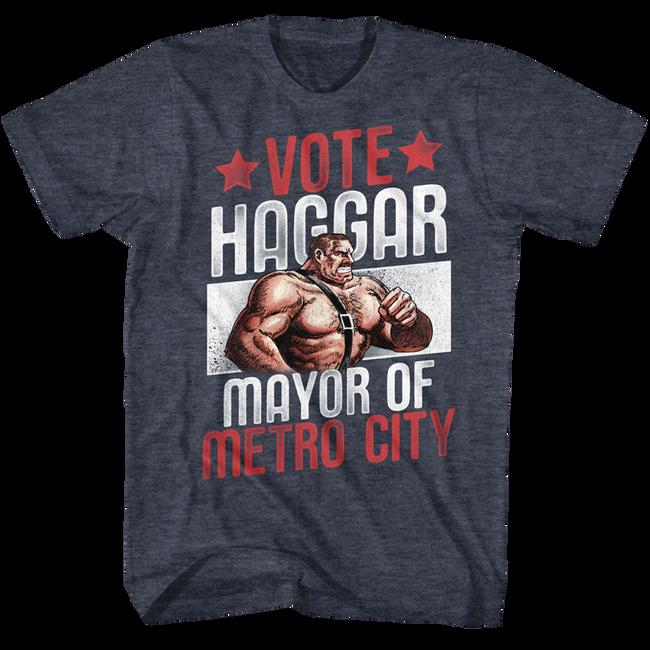 Final Fight Vote Haggar Navy Heather Adult T-Shirt
