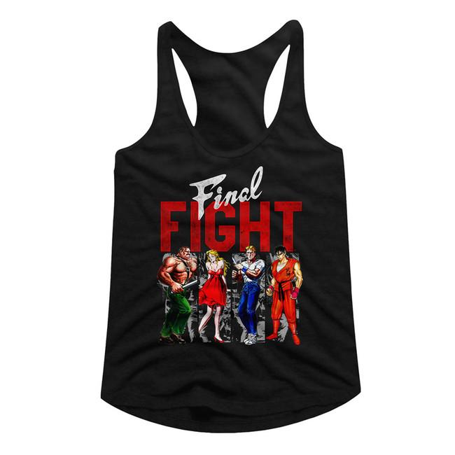 Final Fight Panels Black Junior Women's Racerback Tank Top T-Shirt