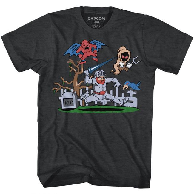 Ghosts 'n Goblins Graveyard Black Heather Adult T-Shirt