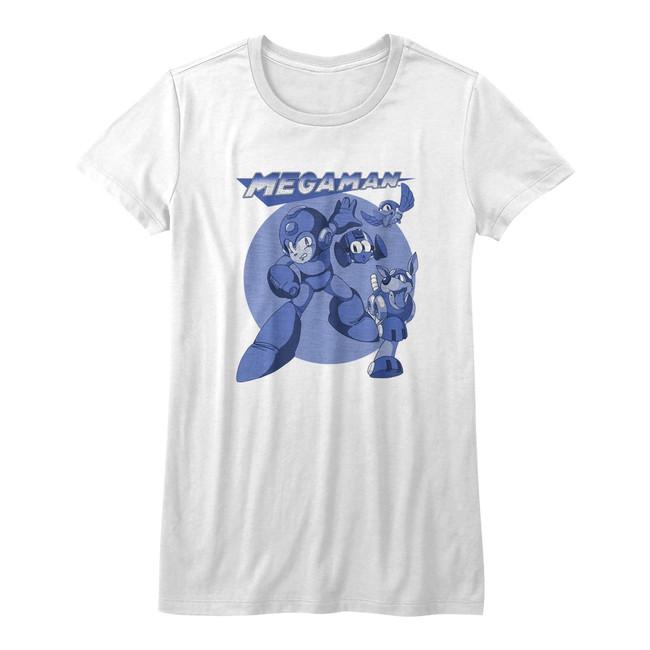 Mega Man Mega Blues White Junior Women's T-Shirt