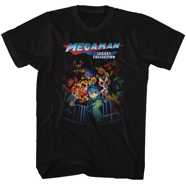 Mega Man Legacy Collection Black Adult T-Shirt