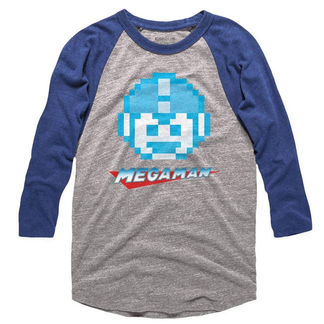 Mega Man Mega Face Gray/Royal Adult Raglan Baseball T-Shirt