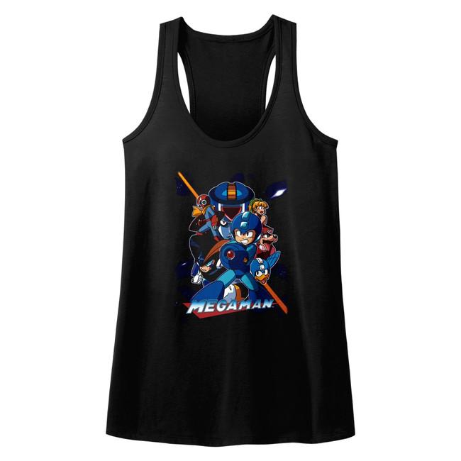 Mega Man Collage Orange Beam Black Junior Women's Racerback Tank Top T-Shirt