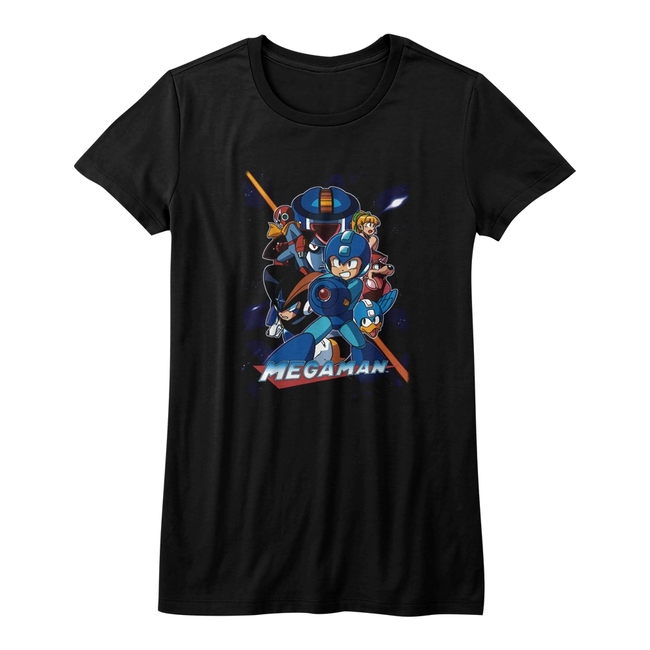 Mega Man Collage Orange Beam Black Junior Women's T-Shirt