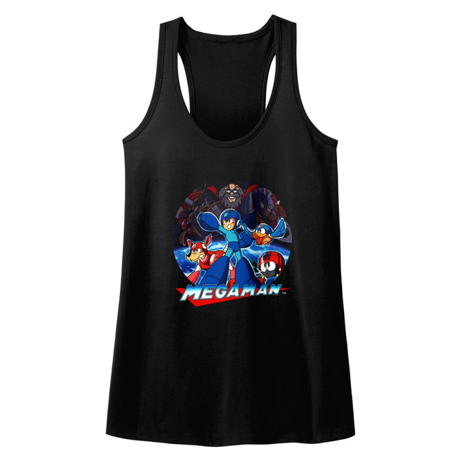 Mega Man Collage Black Junior Women's Racerback Tank Top T-Shirt