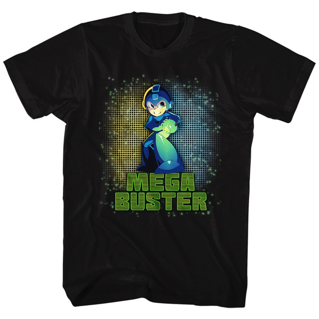Mega Man Mega Buster Black Adult T-Shirt