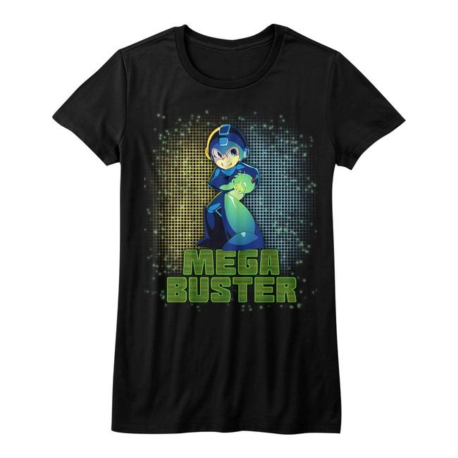 Mega Man Mega Buster Black Junior Women's T-Shirt