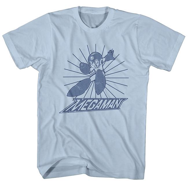 Mega Man Mega Burst Light Blue Adult T-Shirt