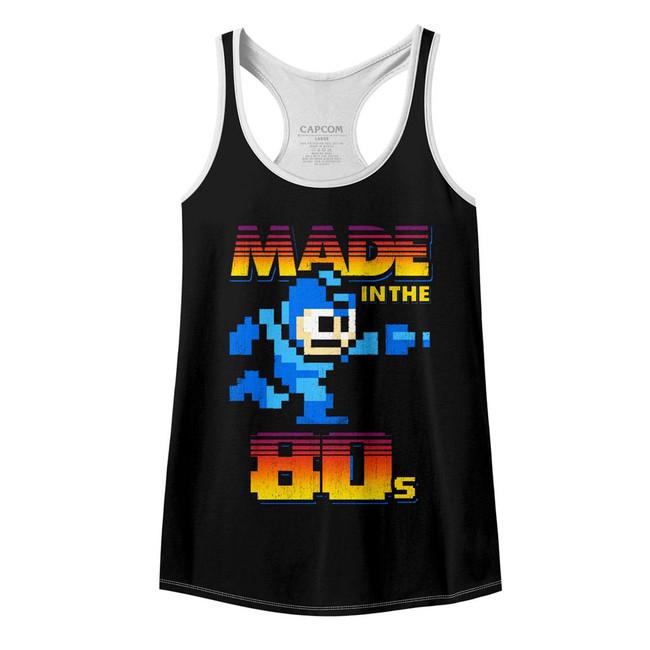 Mega Man Made In The 80's Black/White Junior Women's Racerback Tank Top T-Shirt