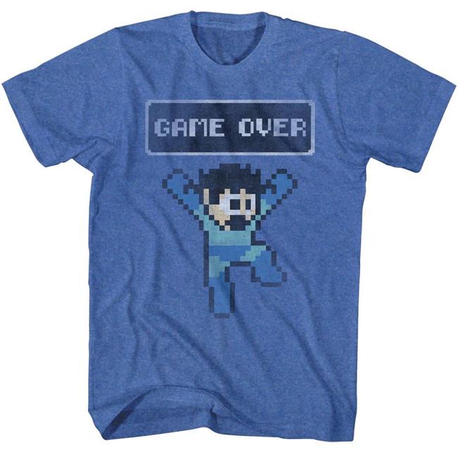 Mega Man Game Over Royal Heather Adult T-Shirt
