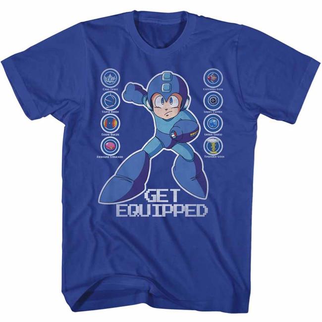 Mega Man Get Equipped Royal Adult T-Shirt