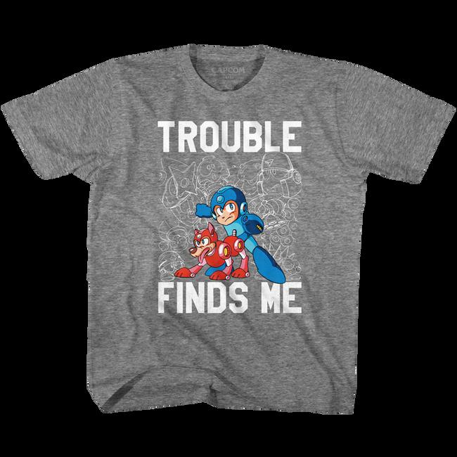Mega Man Trouble Graphite Heather Children's T-Shirt