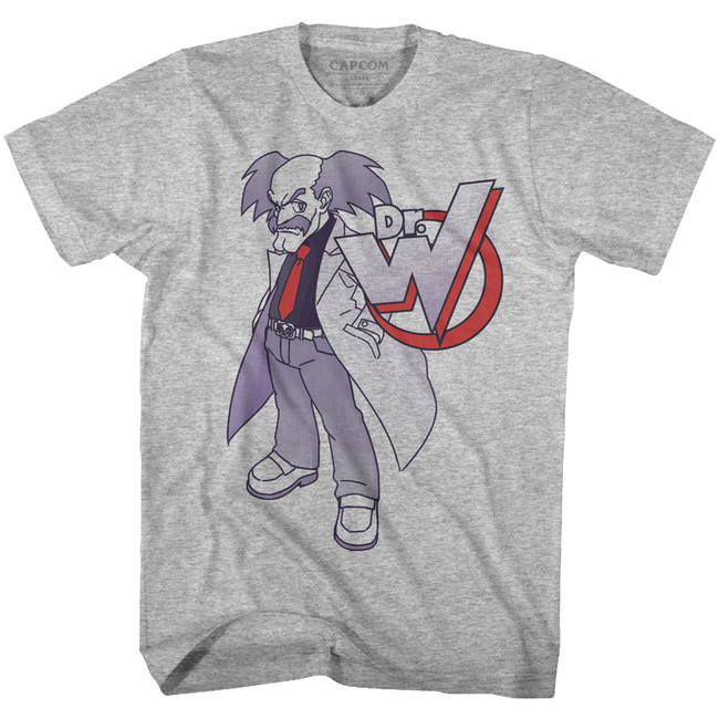 Mega Man Dr. Willy Gray Heather Adult T-Shirt