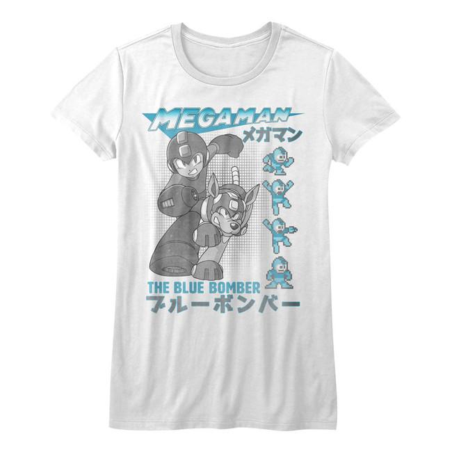 Mega Man Blue Bomber White Junior Women's T-Shirt