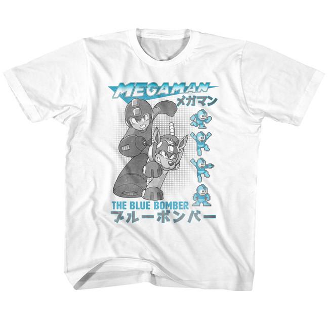 Mega Man Blue Bomber White Youth T-Shirt