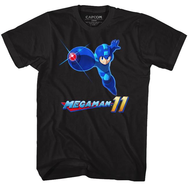 Mega Man Mega 11 Black Adult T-Shirt