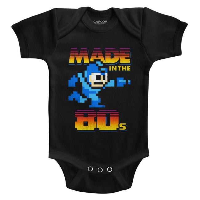 Mega Man Made In The 80's Black Baby Onesie T-Shirt