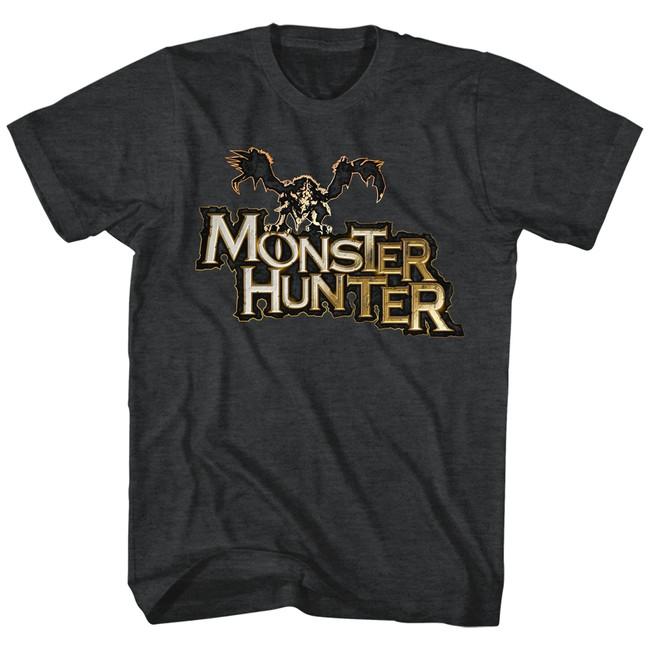 Monster Hunter Logo Black Heather Adult T-Shirt