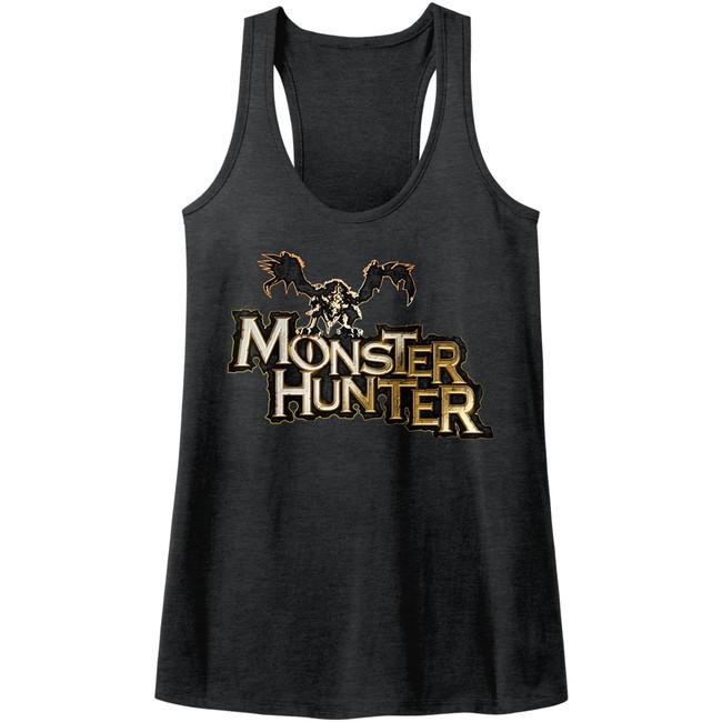 Monster Hunter Logo Dark Gray Heather Junior Women's Racerback Tank Top T-Shirt