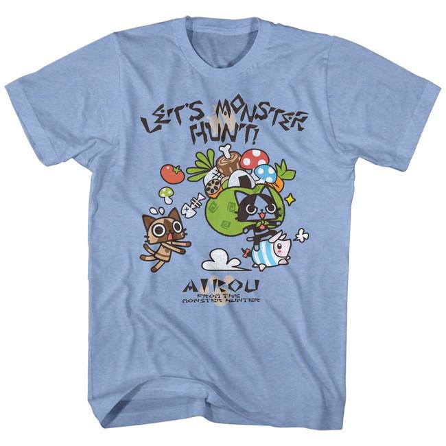 Monster Hunter Airou Hunter Light Blue Heather Adult T-Shirt