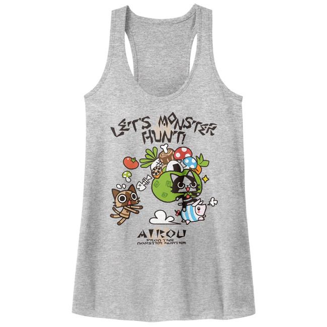 Monster Hunter Airou Hunter Gray Heather Junior Women's Racerback Tank Top T-Shirt