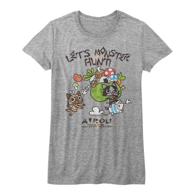 Monster Hunter Airou Hunter Gray Heather Junior Women's T-Shirt