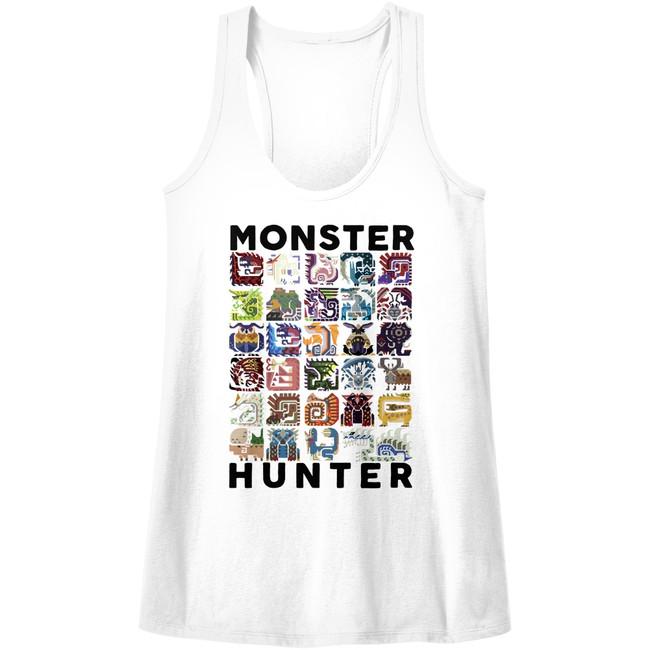 Monster Hunter Let's Hunt White Junior Women's Racerback Tank Top T-Shirt