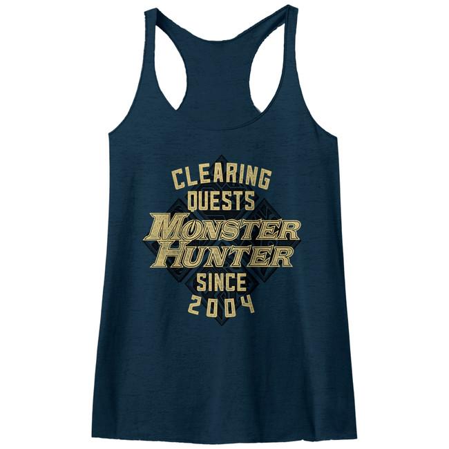 Monster Hunter Since '04 Vintage Navy Junior Women's Raw Edge Racerack Tank Top T-Shirt