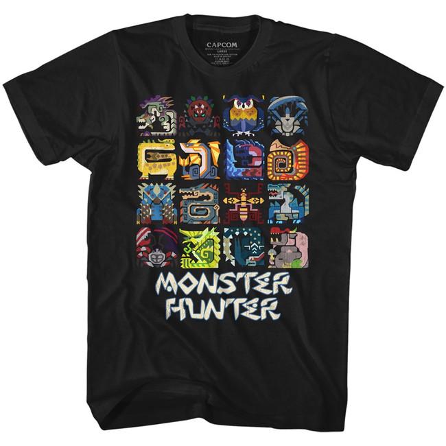 Monster Hunter Symbols Black Adult T-Shirt