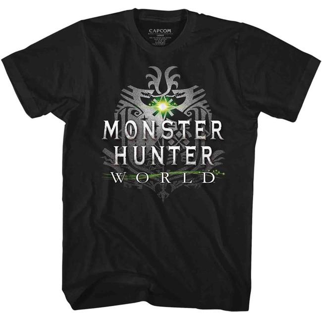 Monster Hunter Monster Hunter World Logo Black Adult T-Shirt