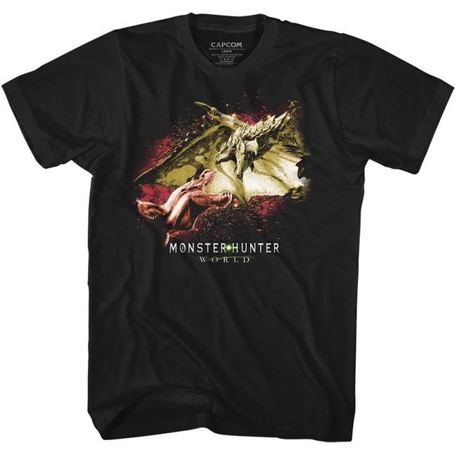 Monster Hunter Face Off Black Adult T-Shirt