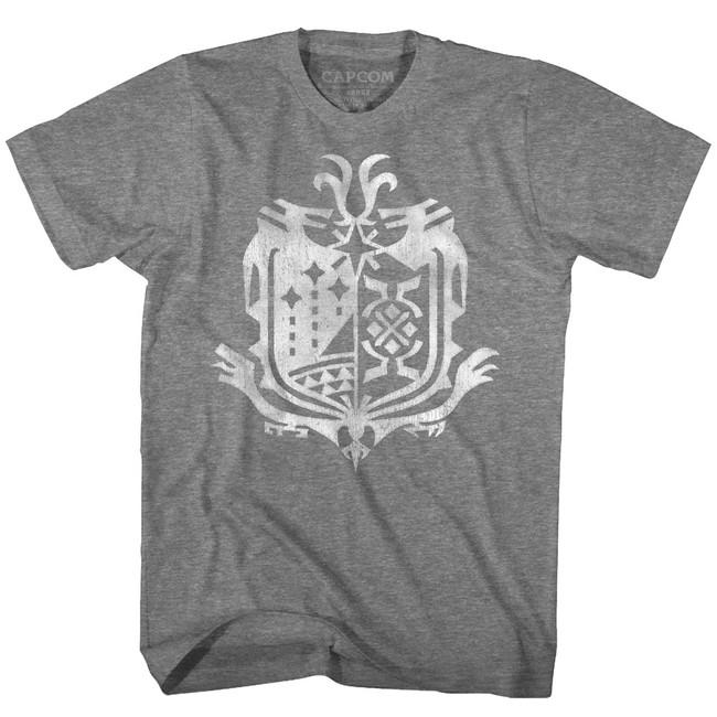 Monster Hunter Weathered World Emblem Graphite Heather Adult T-Shirt