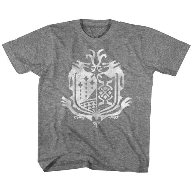 Monster Hunter Weathered World Emblem Graphite Heather Youth T-Shirt