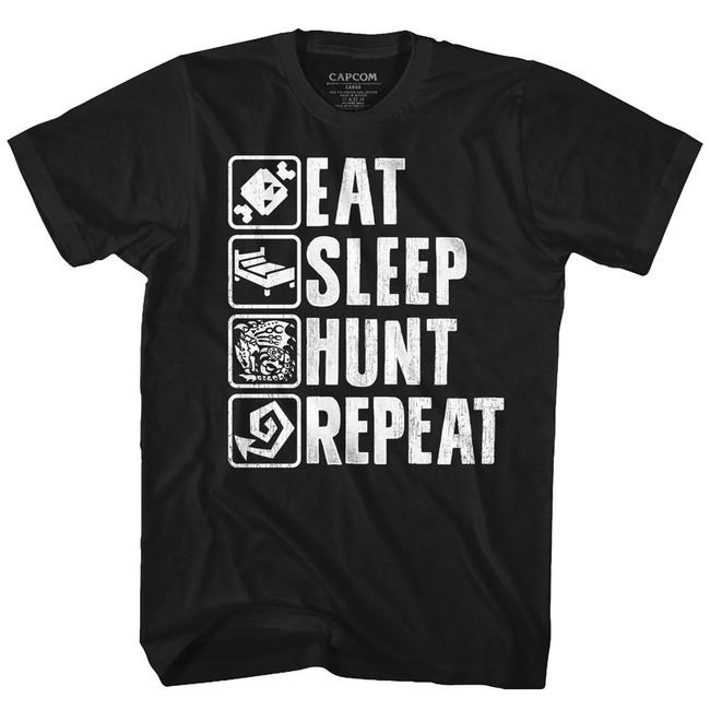 Monster Hunter Hunt Repeat Black Adult T-Shirt