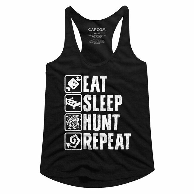 Monster Hunter Hunt Repeat Black Junior Women's Racerback Tank Top T-Shirt