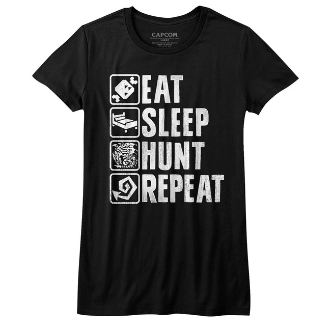 Monster Hunter Hunt Repeat Black Junior Women's T-Shirt