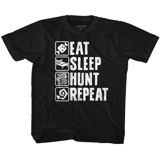 Monster Hunter Hunt Repeat Black Youth T-Shirt