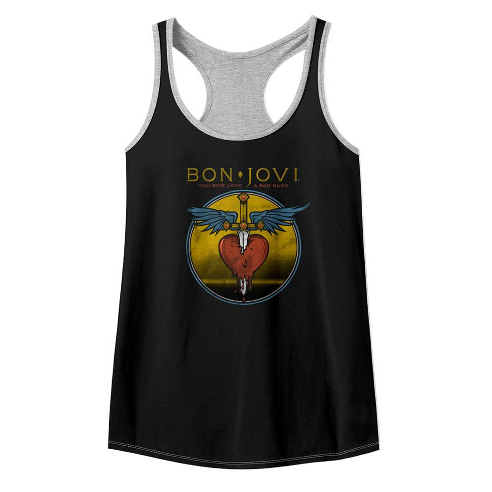 779df35dcaf6d8 Bon Jovi Bad Name Black Heather Junior Women s Colorblock Racerback Tank Top  T-Shirt