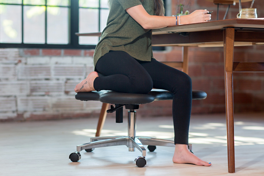 Half kneeling position on Soul Seat office chair